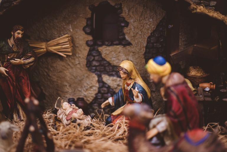 Classico presepe molto comune a Natale e capodanno a roma