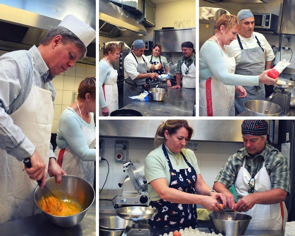 Preparazione della cheescake durante il corso di cucina presso Hotel Villa Fiesole con vista su Firenze in Toscana