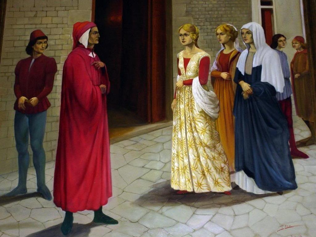 Dante e Beatrice quadro - Chiesa Santa Margherita dei Cerchi - Firenze - Passeggiata letteraria
